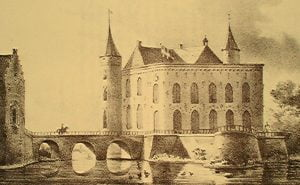 Kasteel Heeswijk, Litho door C.W.Mieling, 1840.
